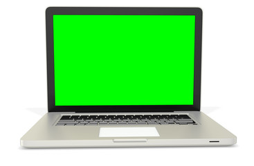 3d metal silver office notebook with green screen