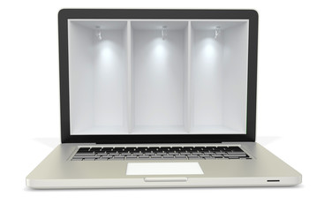 3d laptop computer with empty display