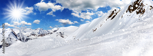 Winter background, high mountains.