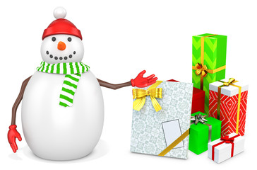 3d snowman with gift boxes