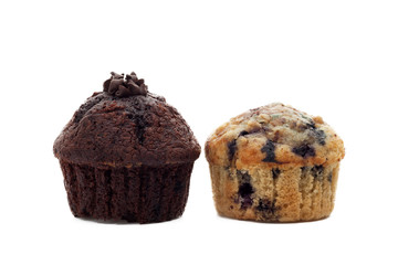 Blueberry and chocolate muffins on white