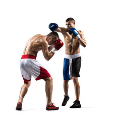 Two professionl boxers are fighting on the white
