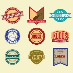 Congratulations logo badges and labels