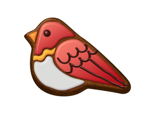 cute winter bird, christmas gingerbread cookie illustration