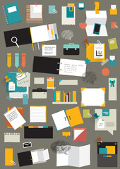 Set of reminders, paper stickers, work office tools, folders.