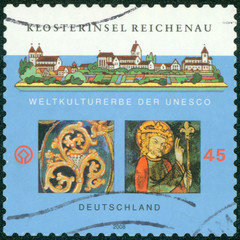 stamp printed in the Germany shows Monastic Island of Reichenau