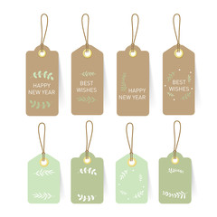 New year card Tag and Label on paper natural concept