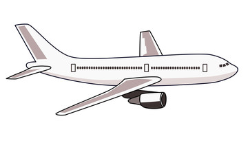 ジェット旅客機のイラスト 右向き