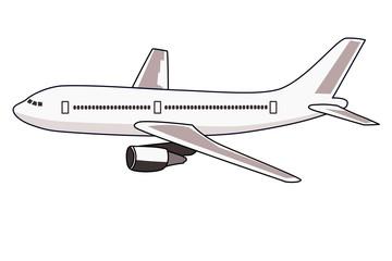 ジェット旅客機のイラスト 左向き