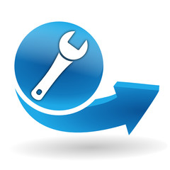 clef d'entretien sur bouton web bleu