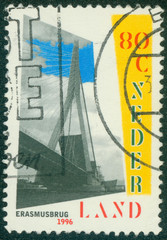 stamp printed in the Netherlands shows Erasmus Bridge