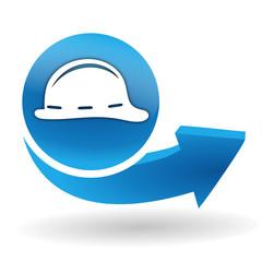 port du casque obligatoire sur bouton web bleu