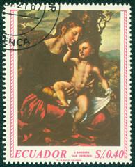 stamp shows Madonna painted by Jan van Hemessen