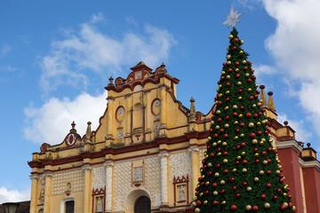 medieval Catholic church with Christmas tree
