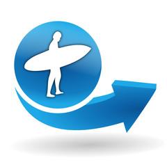 surf sur bouton web bleu
