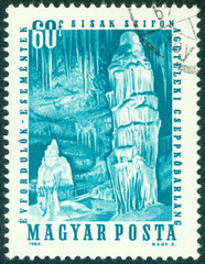 stamp shows Aggteleki Cave, Stalactites and stalagmites