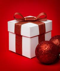 Christmas gift with christmas balls