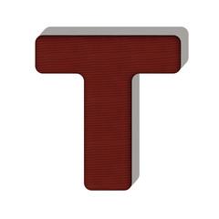T lettera lana maglione 3d in tessuto, isolata su sfondo bianco