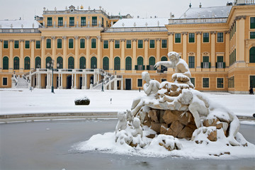 Vienna - Schonbrunn palace and fountain in winter