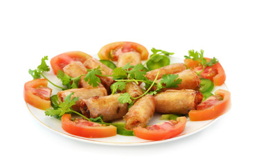 Plate of fried seafood spring rolls
