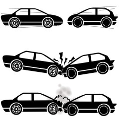 Icon car, two cars crashed into each other at a speed of damage.
