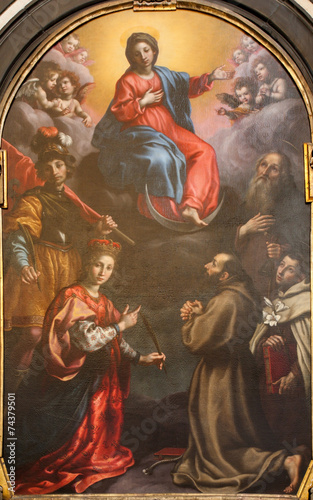 Fototapeta Bergamo - The paint of Immaculate conception with the saints