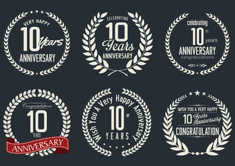 Anniversary laurel wreath design, 10 years