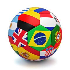 Soccer ball with world countries flags isolated