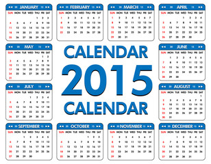 Calendar for the year of 2015