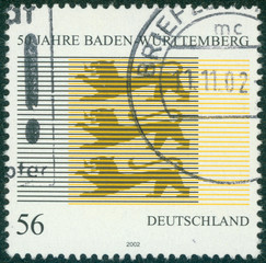 stamp printed by Germany, shows emblem Baden Wurttemberg