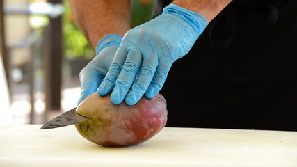 Hands of chef or professional chef cutting a mango fruit