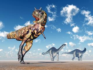 The Dinosaurs Carnotaurus and Apatosaurus