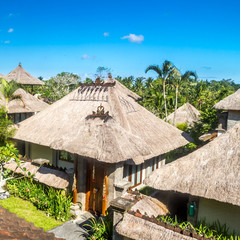 balinese architecture, rustic houses with straw roof