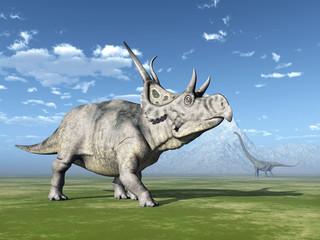 The Dinosaurs Diabloceratops and Mamenchisaurus