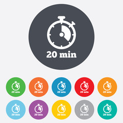 Timer sign icon. 20 minutes stopwatch symbol.