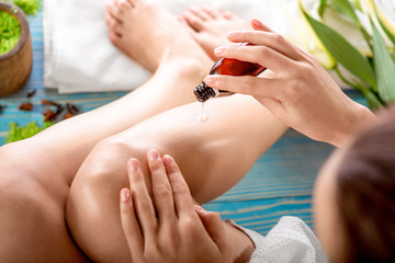 Woman taking spa procedures