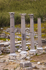 Standing reconstructed columns at Perga in Turkey