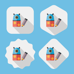 Pencil sharpener flat icon with long shadow,eps10