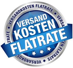 """Button Banner """"Versandkosten Flatrate"""" blau/silber"""