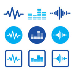 Sound wave music vector blue icons set