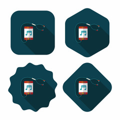 smartphone and headset flat icon with long shadow,eps10