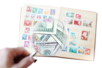 Hobby concept: sale of rare postage stamps