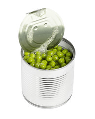 Green peas in tin can