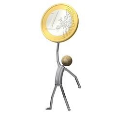 Männchen hebt eine Euro-Münze in die Höhe