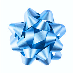 Blue bow is isolated on a white background
