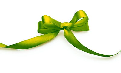 Green bow with shadow on a white background