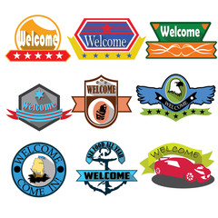 Welcome logo badges and labels