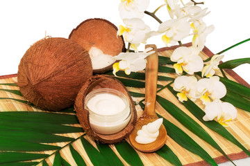 Coconut cocos with cream, wooden spoon, white orchid and green p