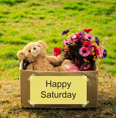 Bear and flower bouquet in box with happy Saturday