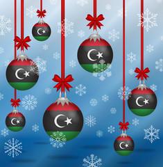 Christmas background flags Libya